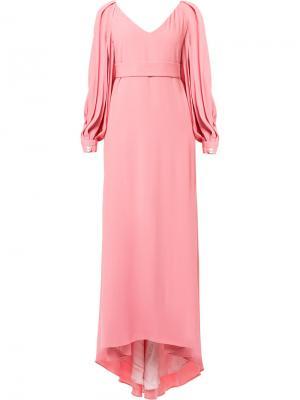 Длинное платье с V-образным вырезом Ingie Paris. Цвет: розовый и фиолетовый