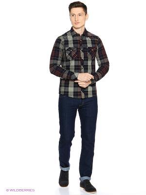Рубашка Colin's. Цвет: темно-синий, бордовый