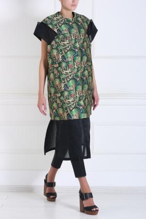 Пальто с тропическим принтом Delpozo. Цвет: зеленый, черный