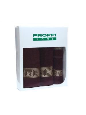 Набор подарочный полотенец PROFFI HOME 4 шт., шоколадный. Цвет: коричневый