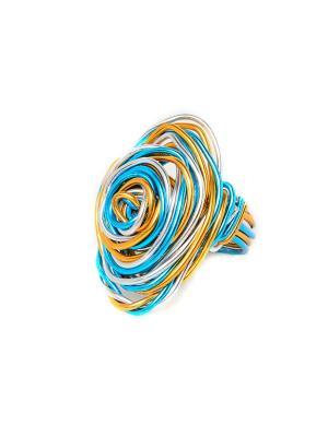 Кольцо из Перу Escudero Indira. Цвет: голубой, серебристый, кремовый