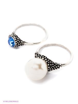 Кольцо, 2 шт. Royal Diamond. Цвет: серебристый, белый, синий