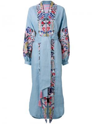 Платье с запахом и вышивкой Harvest Yuliya Magdych. Цвет: синий