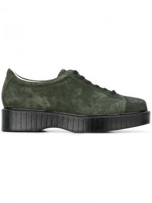 Туфли на шнуровке Pasket Robert Clergerie. Цвет: зелёный