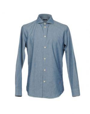 Джинсовая рубашка (+) PEOPLE. Цвет: синий