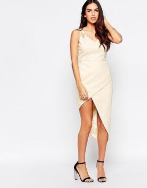 VLabel London Платье с асимметричным подолом Lyle. Цвет: бежевый