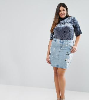 Alice & You Окрашенная джинсовая юбка. Цвет: синий