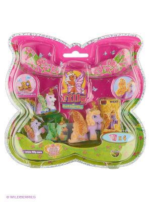 Волшебная семья  Filly, лошадки бабочки с блестящими крыльями Bed Dracco. Цвет: розовый