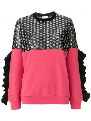 Джемпер с рюшами и принтом звезд Gaelle Bonheur. Цвет: розовый и фиолетовый