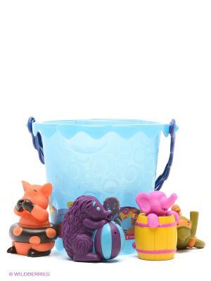Набор для ванны Ведерко с животными Battat. Цвет: голубой, оранжевый, желтый, темно-синий