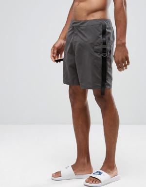 ASOS Серые шорты карго для плавания с ремешками. Цвет: серый