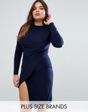 Club L Plus Платье с запахом. Цвет: темно-синий