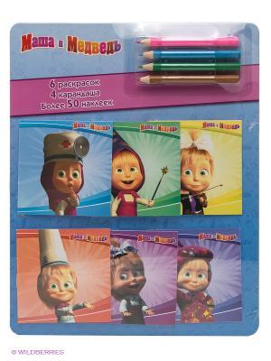 Маша и медведь. Раскраски в кармашках с наклейками 6шт., набор цветных карандашей. Эгмонт. Цвет: синий