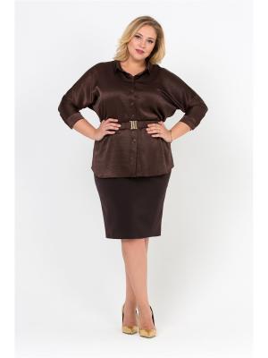 Блуза Интикома. Цвет: коричневый