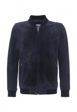 Куртка кожаная Bellfield. Цвет: синий