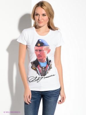 Футболка В.В.Путин с подписью Alexander Konasov. Цвет: белый