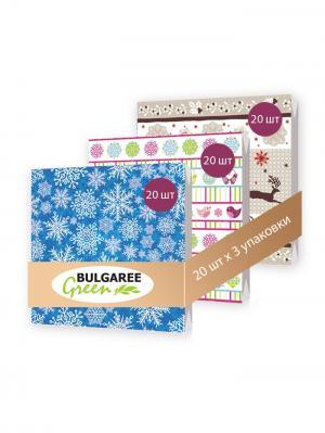 Набор новогодний Снежинки из 3 упаковок трехслойных салфеток с ярким принтом, 3х20шт Bulgaree Green. Цвет: синий