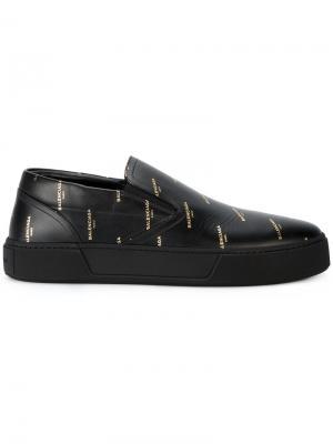 Кроссовки с принтом нового логотипа Balenciaga. Цвет: чёрный