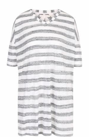 Удлиненная льняная футболка в полоску 5PREVIEW. Цвет: белый