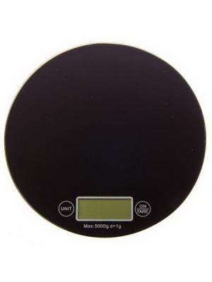 Весы кухонные, электрон.дисп, стекл.платф, макс.нагр.до 5кг (точн.измер. 1 гр) d18,5см KONONO. Цвет: черный