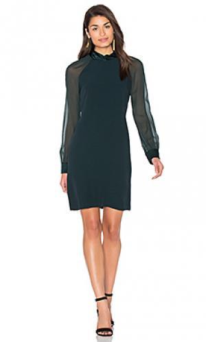 Цельнокроеное платье с длинным рукавом IKKS Paris. Цвет: темно-зеленый
