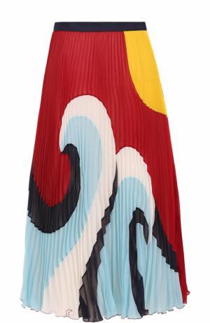 Плиссированная юбка-миди с принтом REDVALENTINO. Цвет: разноцветный