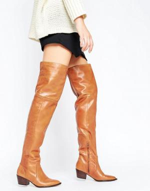 ALDO Кожаные сапоги-ботфорты в стиле вестерн Deedee. Цвет: рыжий