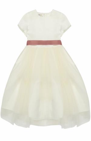 Платье с завышенной талией и контрастным поясом Caf. Цвет: белый
