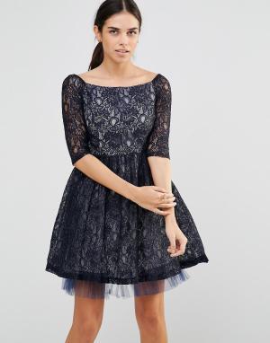 Laced In Love Приталенное платье из кружева. Цвет: темно-синий