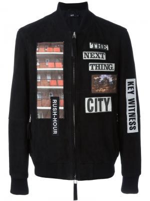 Куртка-бомбер с нашивками Blood Brother. Цвет: чёрный