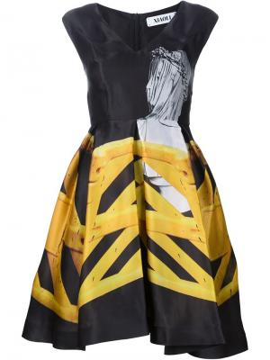 Расклешенное платье с фото принтом Xiao Li. Цвет: чёрный