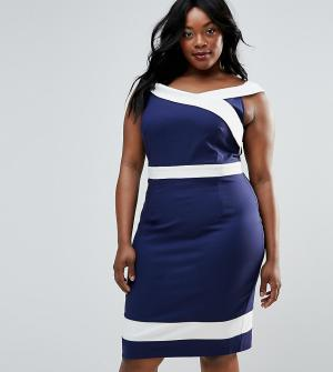 Paper Dolls Plus Платье-футляр с широким вырезом. Цвет: темно-синий