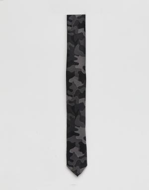 ASOS Черный галстук с камуфляжным принтом. Цвет: черный
