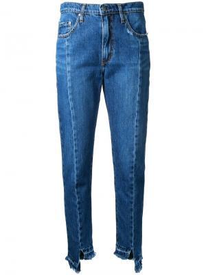 Зауженные джинсы Issy Jean Unravelled Nobody Denim. Цвет: синий