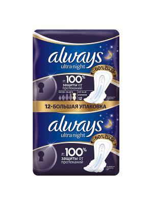 Гигиенические прокладки Ночные экстра защита с крылышками, 12 шт. Always. Цвет: синий
