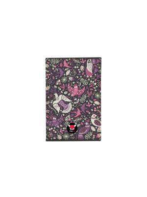 Чехол для проездного Фиолетовые птицы TonyFox. Цвет: черный, синий, фиолетовый, белый