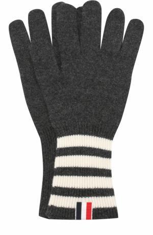 Кашемировые вязаные перчатки Thom Browne. Цвет: темно-серый