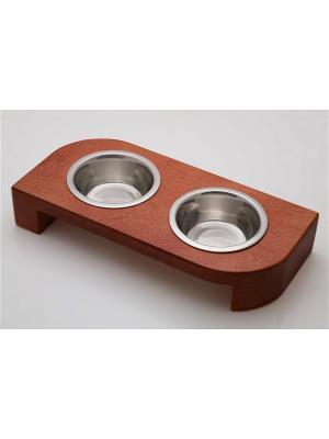 Подставка для кормления животных (дерево) 2*240мл Doggy Style. Цвет: темно-красный