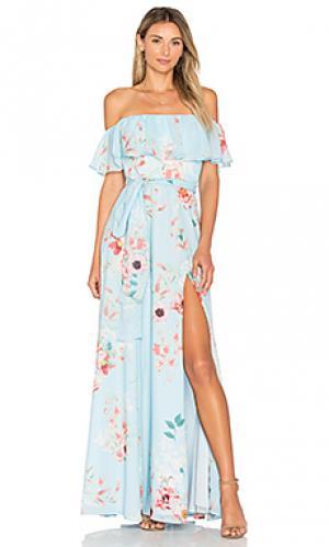 Макси платье carmen Yumi Kim. Цвет: синий