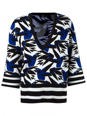 V-neck knit blouse Gig. Цвет: синий