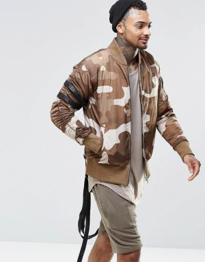 Other UK Камуфляжная куртка-пилот с ремешками. Цвет: зеленый