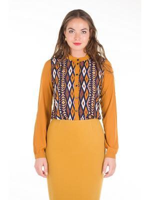 Блузка PROFITO AVANTAGE. Цвет: горчичный, синий