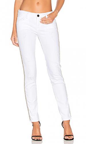 Рваные узкие джинсы со стразами Etienne Marcel. Цвет: none