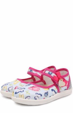 Комбинированные туфли с принтом и застежками велькро Monnalisa. Цвет: голубой