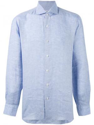 Рубашка из шамбре Barba. Цвет: синий