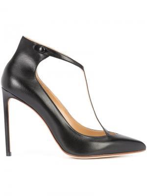 Туфли-лодочки с Т-образной планкой Francesco Russo. Цвет: чёрный