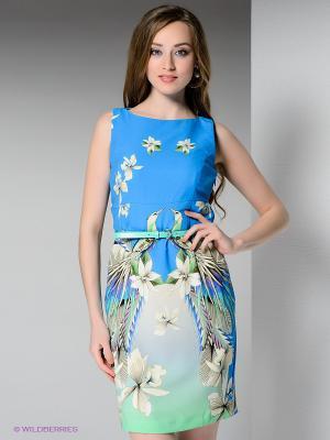 Платье BOVONA. Цвет: лазурный, зеленый