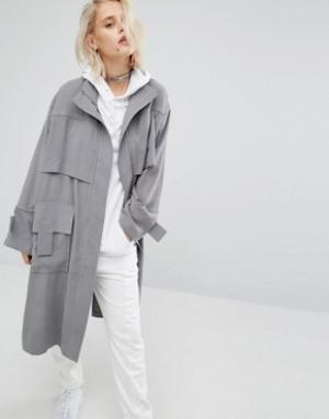 KKXX Куртка-тренч. Цвет: серый