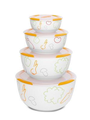 Набор керамических салатников с крышками OURSSON. Цвет: белый, оранжевый