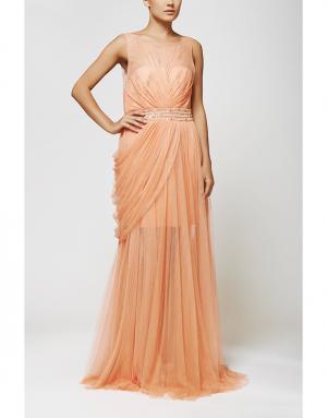 Платье в пол Zuhair Murad. Цвет: персиковый